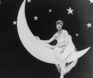 girl, vintage, and moon image