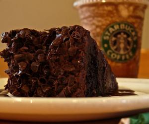 starbucks, chocolate, and cake image