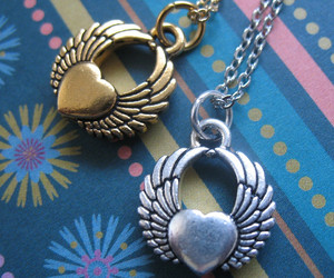 necklace, tattoo, and winged heart image