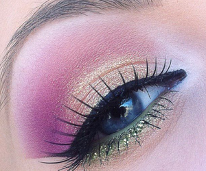 make up, pink, and green image