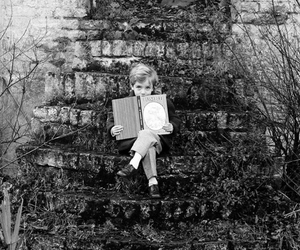 book, black and white, and boy image
