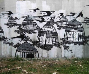 birds, graffiti, and cage image