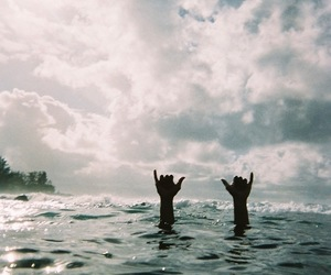 sea, hands, and beach image