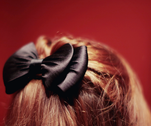 hair, bow, and black image
