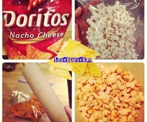 food, popcorn, and doritos image