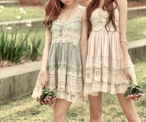 dress, girl, and flowers image