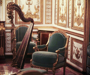 harp, chair, and interior image