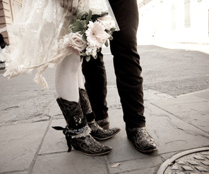 boots, flowers, and legging image