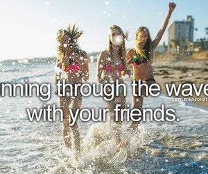 girl, friends, and waves image