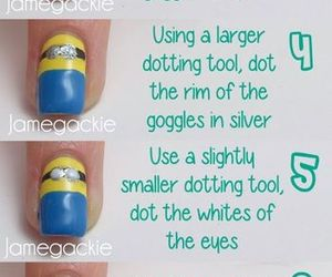 nails, tutorial, and minions image