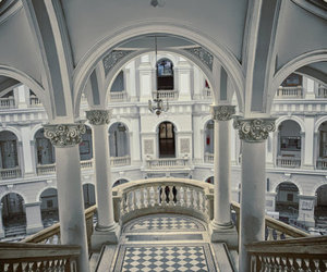 architecture, white, and stairs image