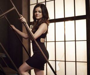 pll, aria, and lucy hale image