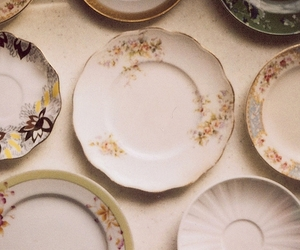 flowers, dish, and vintage image