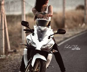girl and motorcycle image