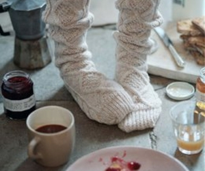 breakfast, cable knit, and knit image