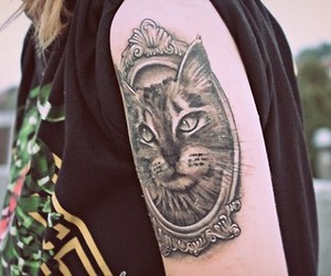 cat, M, and tattoo image