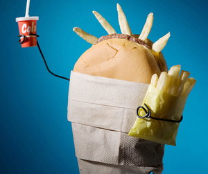 funny, burger, and fries image