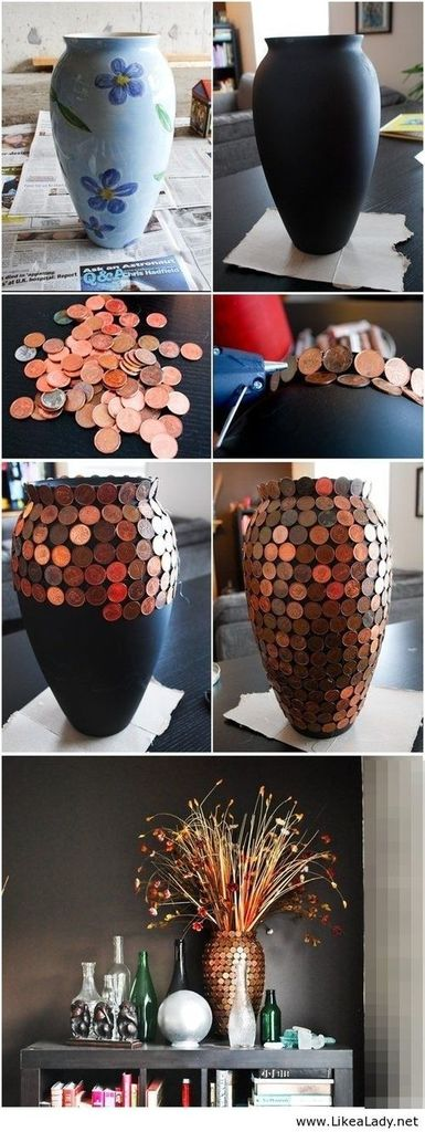 diy, vase, and coins image