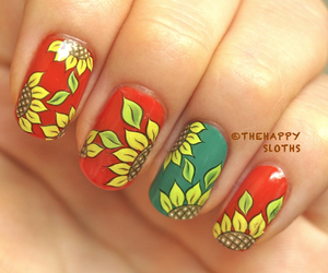 manicure, sunflower, and nail design image