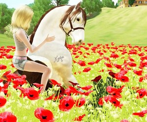 flowers, horse, and sims image