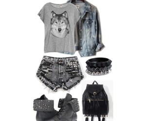 fashion, outfit, and wolf image