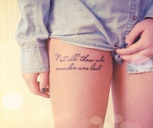 tattoo, quotes, and leg image