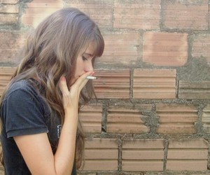cigarette, girl, and what the fuck? image