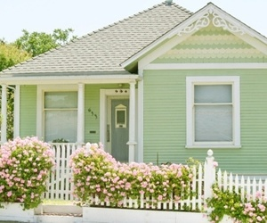 house, green, and flowers image