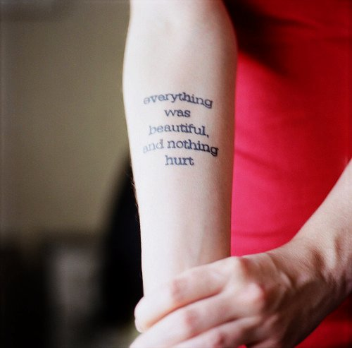 Black Arm Quote Tattoos for Girls on We Heart It