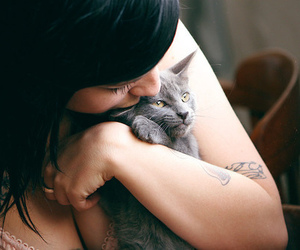black hair, cat, and girl image
