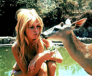 girl, deer, and blonde image