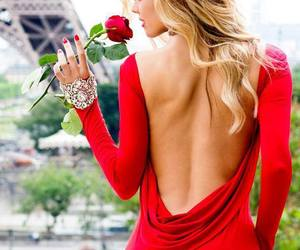 red, dress, and paris image