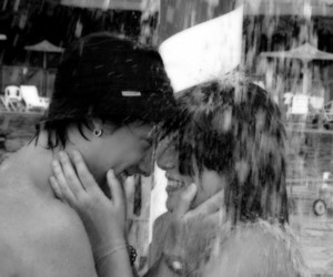 black and white, couple, and water image