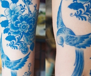 blue, bird, and tattoo image