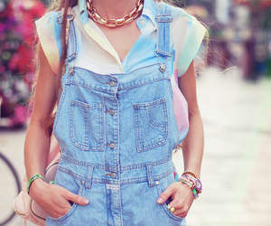 girl, blouse, and denim image