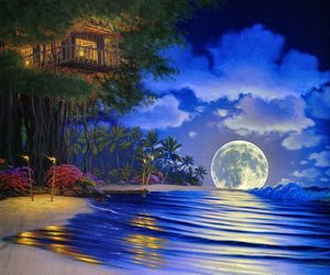 moon, night, and fantasy image