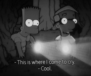 cry, black and white, and bart image