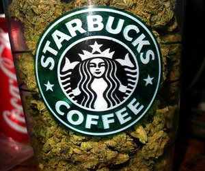 starbucks, weed, and marijuana image