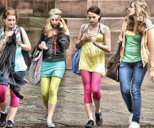 cell phone, girls, and leggings image