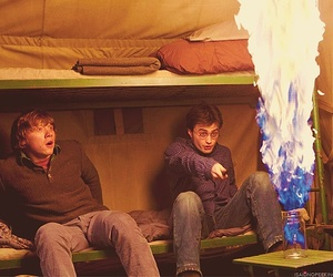 harry potter, ron weasley, and fire image