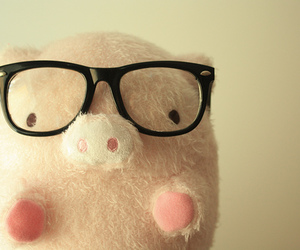 cute, pig, and glasses image