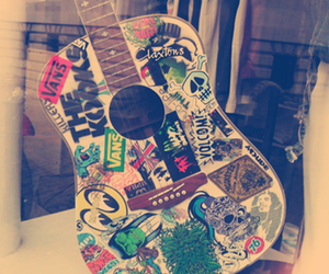guitar, music, and vans image