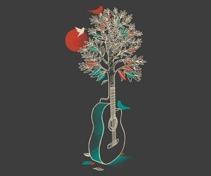 guitar, bird, and tree image