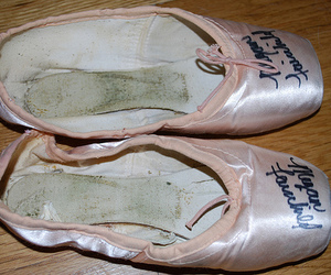 ballerina, pointe shoes, and signed image