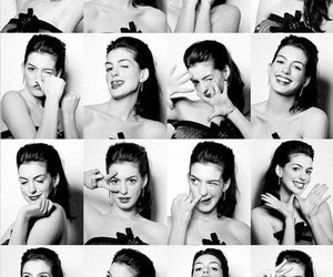 Anne Hathaway and black and white image