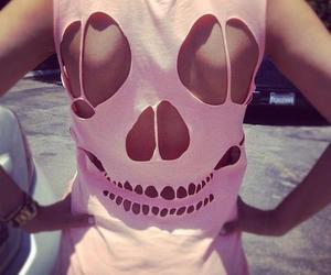 pink, skull, and shirt image