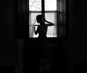 black and white, window, and girl image
