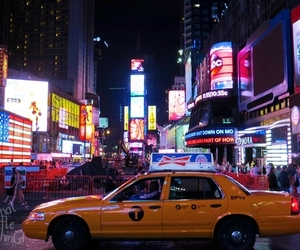 cab, times square, and new york image