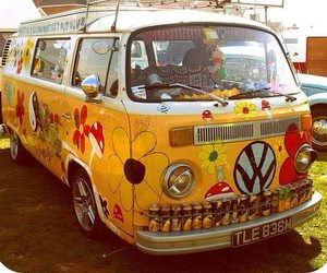 hippie, peace, and flowers image