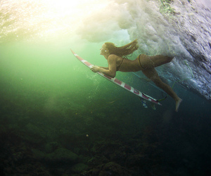 surf, girl, and wave image
